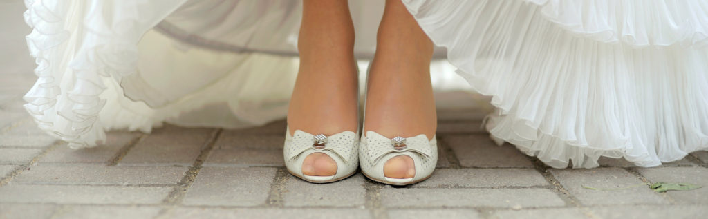 Elegant pair of woman's wedding shoes